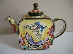 Kevin Chen Enamel Miniature Teapot No. 921 Butterflies