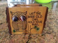 Vintage Owl Wooden Mail Holder Key Rack & Owl Wall Plaque