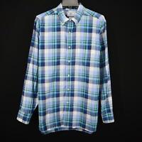 Mens Southern Tide Classic Fit Blue Plaids Oxford Golf Dress Shirt Size Large L