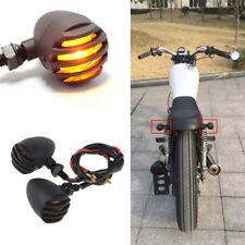 4x Black Front Rear Motorcycle Bobber Cafe Racer Turn Signal Indicator Lights US