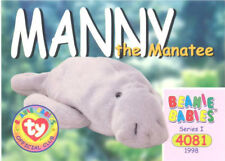 4bff40d2a83 TY Beanie Babies BBOC Card - Series 1 Common - MANNY the Manatee - NM