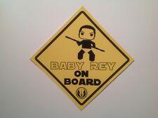 """Bébé à Bord Star Wars """"Baby Rey à bord"""" Imperméable Vinyle Autocollant Voiture"""