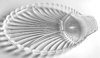 Antique Vintage Mid Century Modern Glass Shell Plate Divided Hostess Party Tray