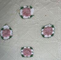 Vintage Cotton Hand Made Crochet Rose Pattern Bedspread Coverlet