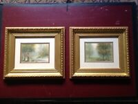 Pair of Antique Victorian Watercolour Landscape Paintings - Gilt Frames -