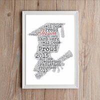 Graduation Personalised Daughter Friend Word Art Print Gift Uni or College NEW