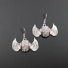 Ladies Girls Mom Rhinestone Crystal Wings Baseball Earrings 8pc wholesale lot