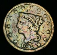 1841 US Large Cent Matron Braided Hair 1C Higher Grade Details US Coin CC1588