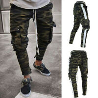 Mens Skinny Denim Pants Pleated Ripped Freyed Slim Fit Jeans Trousers Hot Sale