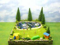 FKK Campingplatz Badesee Figuren Bäume Luftmatratzen Freizeit Diorama H0 1:87