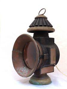19TH Antique XL Large Train locomotive Copper oil front Lamp Lantern headlight