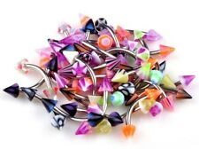20x BANANA COLOURFUL SPIKE Eyebrow Bars Acrylic & Stainless Steel Barbell