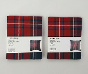 """(Lot of 2) Ikea Pillow Cover Junhild Plaid Cushion Cover 20 x 20"""" Blue Red Plaid"""