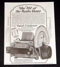 1925 OLD MAGAZINE PRINT AD, VERNIER SIGNAL CONDENSER, THE HIT OF THE RADIO SHOW!