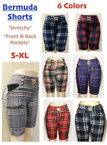 Women's Pull-On Check Bermuda Shorts with Pockets Casual Party Stretchy Pants