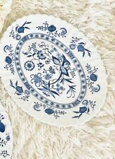 J&G Meakin China England Blue Nordic Oval Dish Blue Onion Hand Engraving