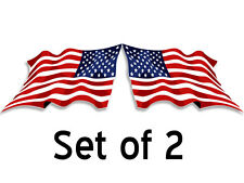 Set of 2: 3x6 in WAVING American Flag Stickers (Facing L/R) - usa decal mirror
