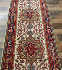 "2'7""x10' New Hand knotted Wool Ivory Navy Super Serapi Oriental rug runner"