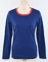 TOMMY HILFIGER Women's Stretch Cotton Long Sleeve Top, Blue, size M