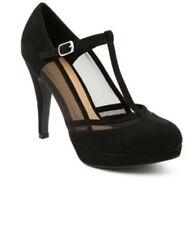 * Emilio Luca X Red High Heels Court shoes Black Ladies Faux Suede sandals Uk8,s