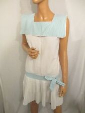 VINTAGE  80s as 20s UK10 WHITE SHORT PLEATED DRESS 10 SAILOR COLLAR NAUTICAL