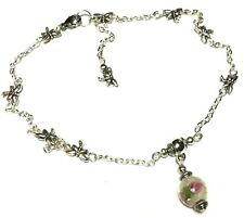 Silver Pink Bead Charm Ankle Bracelet Dragonfly Chain Anklet Foot Jewellery Boho