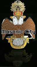Z-169 33 Degree Wings Down Die Cut Masonic Auto Emblem Car Scottish Rite Mason