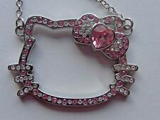 "SANRIO 16"" HELLO KITTY NECKLACE WITH CHAIN PINK RHINESTONES PINK BOW"