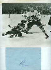 BOB NEVIN 1961-62 TORONTO MAPLE LEAFS ORIGINAL PRESS PHOTO & VINTAGE AUTOGRAPH