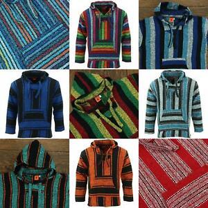 Recycled Mexican Baja Jerga Hoody Sweatshirt Jacket Hooded Warm Hippy