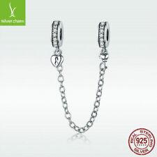 925 Sterling Silver Charm Bead Heart Lock & Key Safety Chain Fit Lover Bracelet