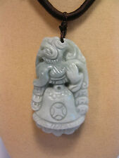 Handcrafted knot work cord adjustable jade carved lion and bell pendant/necklace