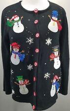 Christmas Cardigan XL Black Sweater Sequins Snowman Holiday Mercer Street Studio
