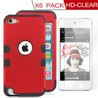iPod Touch 5/6/7 th Generation Shock Absorbing Case Cover w/ 6x HD-Clear Glass