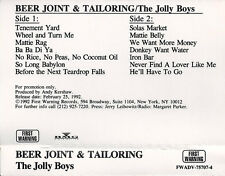 "JOLLY BOYS ""Beer Joint & Tailoring"". CASSETTE. BMG 1992. PROMO"