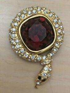 Joan Rivers Vintage Red Crystal Snake Pin