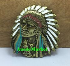1 x mens ladies belt buckle metal alloy american usa u.s. indian feathers brass