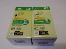TWO PACK (2) LED A19 Light Bulbs 110V 60W Equivalent 9W Fully Dimmable