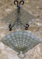 """Set Of 4 Vintage Clear Glass Crystal Fan  Shaped Candy Snack Plate Dish 10.75x7"""""""