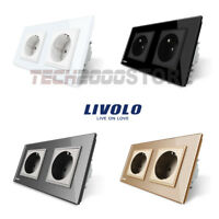 LIVOLO TOMA CORRIENTE DOBLE ENCHUFE PARED PANEL CRISTAL UE LUXURY POWER SOCKET