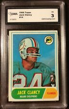 1968 Topps Football JACK CLANCY #14 ROOKIE Miami DOLPHINS GMA GRADED VG 3