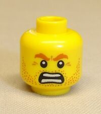 x1 NEW Lego Minifig Head w/ Stubble Angry Eyebrows & Open Mouth Face
