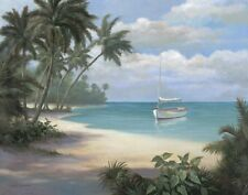 Set of 4 Tropical Art Prints Palm Trees Sailboats 8x10 Posters Beach Ocean theme