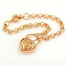Arab Style 9K Real Gold Filled Heart Charm Womens Bracelet,Z670