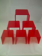 6 PERSPEX BRIDGE DISPLAY STEP SHOP WINDOW RISER PLINTH RED FROSTED ACRYLIC