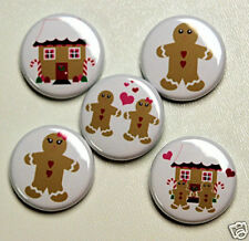 5 GINGERBREAD MAN Buttons Pins Badges 1 inch Set