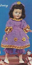 "Vintage Crochet PATTERN to make Doll Clothes Dress Pantaloons Hat 11"" Daisy"