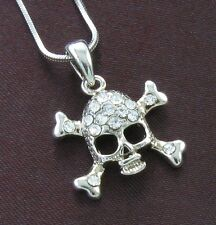 Clear Halloween Skull Crosbone Crystal Necklace Pendant