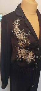 River Island Jumpsuit UK 10 Boilersuit Embroidered Oriental Party Silky Floral