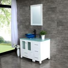 "36.2"" White Bathroom Vanity Cabinet Tempered Vessel Sink/Glass Countertop&Mirror"